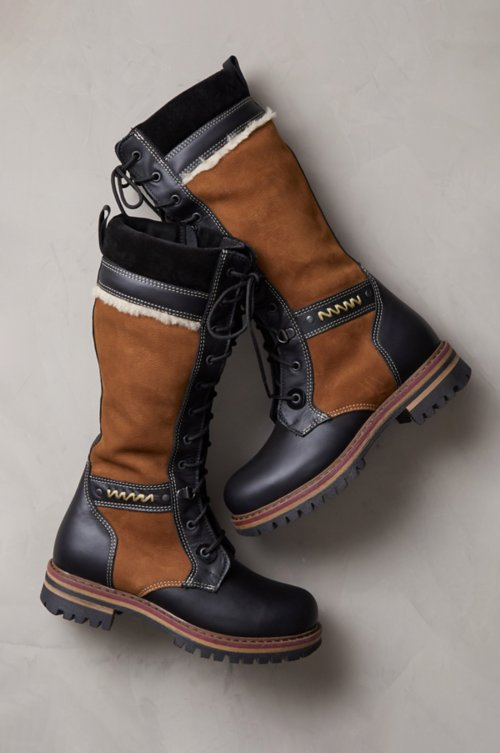 Women's Ilka Shearling-Lined Waterproof Italian Calfskin Suede and Leather Boots
