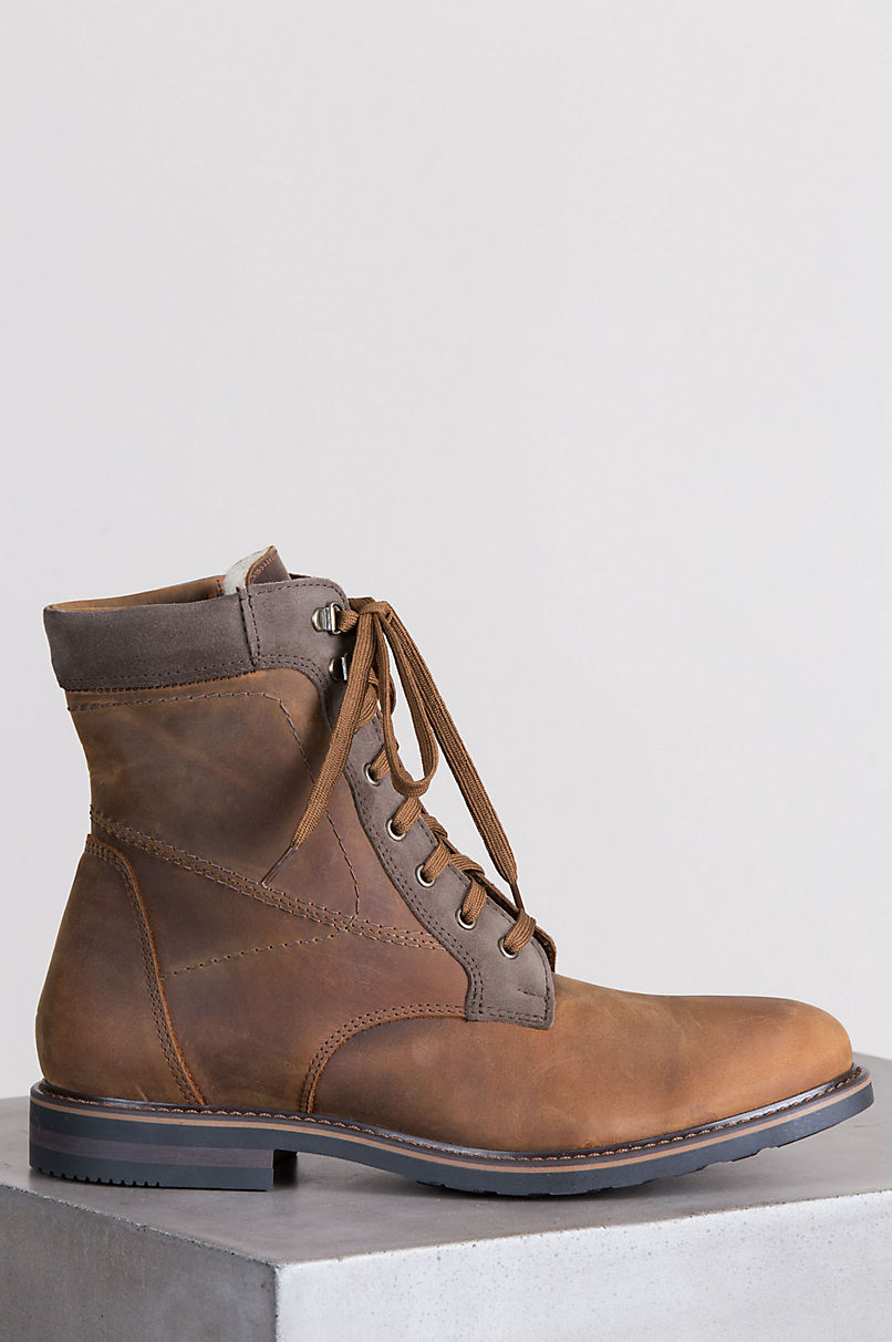 Men's Isaac Shearling-Lined Waterproof Nubuck Leather Boots