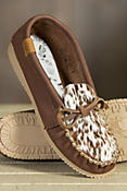 Women's Martino Animoc Pony Print Leather Moccasin Slippers