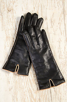 Women's Two-Tone Lambskin Leather Gloves with Shearling Lining
