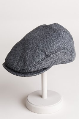 Gray Ivy Wool Herringbone Cap with Shearling-Lined Earflaps