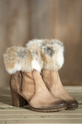 Women's Manas Letizia Suede Boots with Rabbit Fur Trim