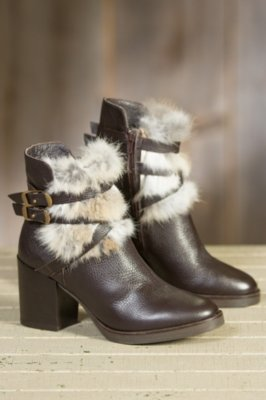 Women's Manas Fina Leather Boots with Rabbit Fur Trim