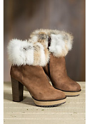Women's Overland Lavone Suede Ankle Boots with Rabbit Fur Trim