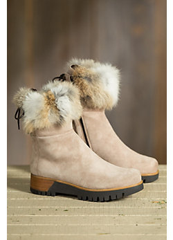 Women's Overland Reba Short Fleece-Lined Suede Boots with Rabbit Fur Trim