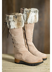 Women's Overland Reba Tall Leather Boots with Rabbit Fur Trim