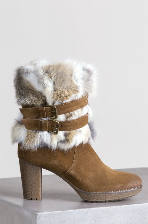 Women's Elise Suede Boots with Rabbit Fur Trim