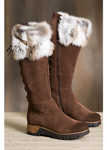 Women's Overland Utah Calfskin Suede Boots with Rabbit Fur Trim