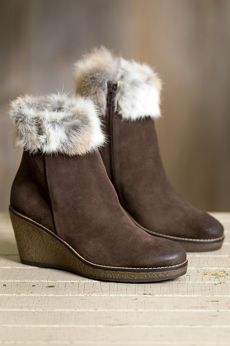 23b0577a6f711 Women's Lucy Calfskin Suede Ankle Boots with Rabbit Fur Trim