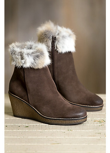 Women's Overland Lucy Calfskin Suede Ankle Boots with Rabbit Fur Trim