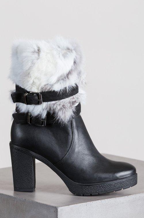 Women's Mariah Goatskin Leather Boots with Rabbit Fur Trim