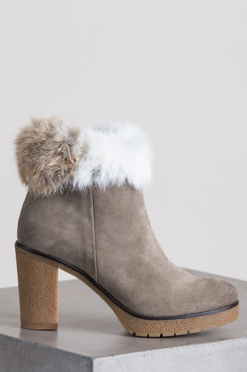 Women's Clara Suede Boots with Rabbit Fur Trim