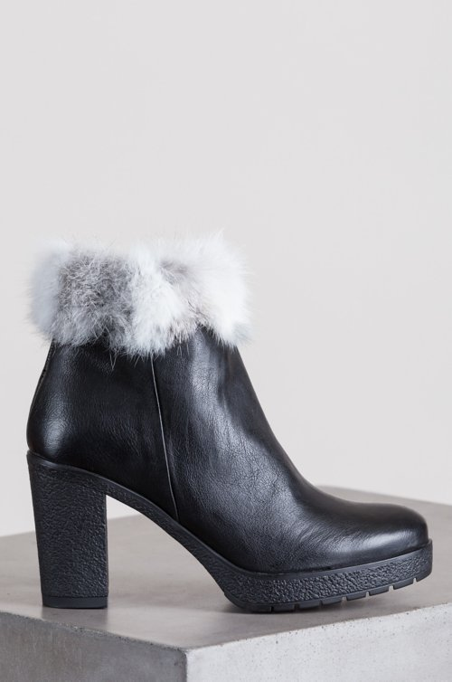 Women's Estrella Goatskin Leather Boots with Rabbit Fur Trim