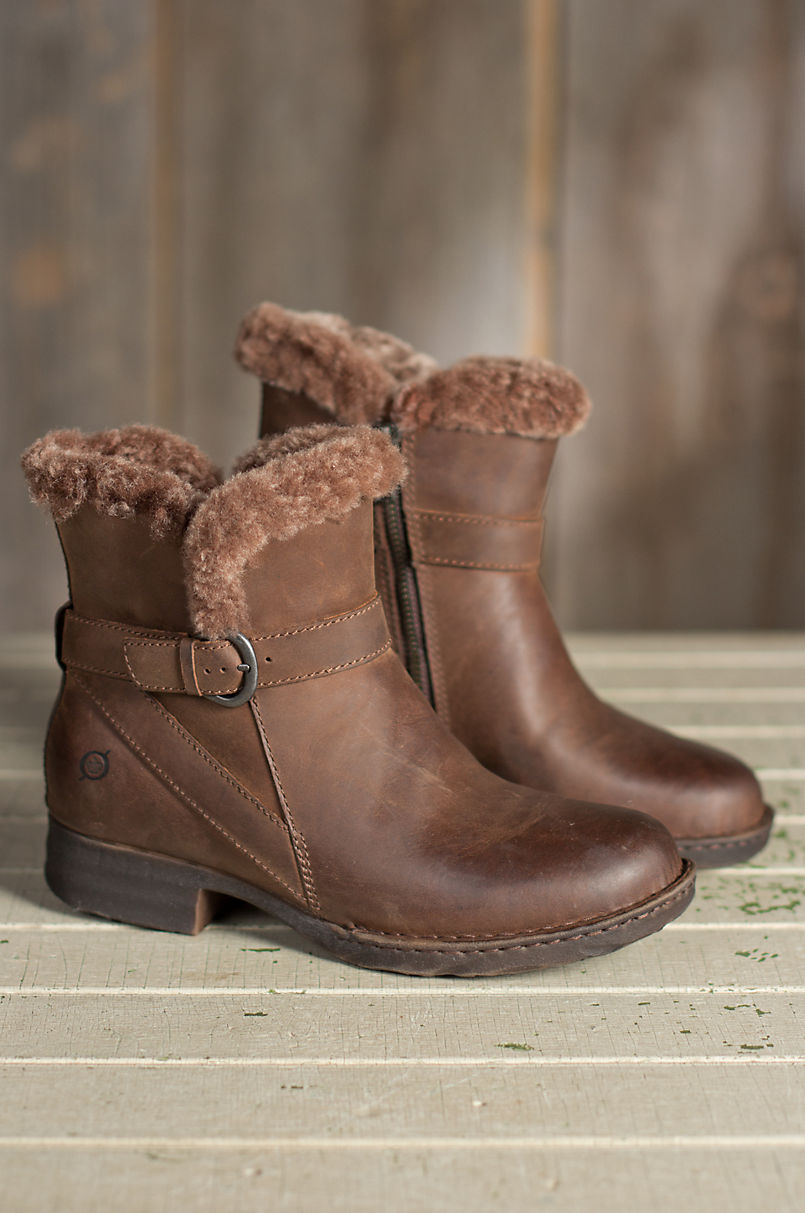 c345b2f06dea Women s Born Kaia Shearling-Lined Leather Short Boots