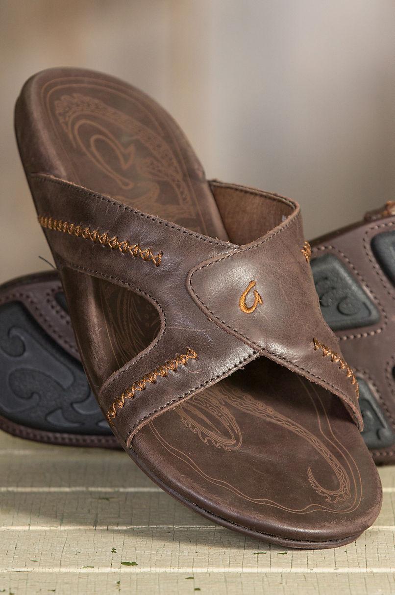 OluKai Mea Ola Leather Slide(Men's) -Black/Black Leather Cheap Sale New Styles WvsRMJr
