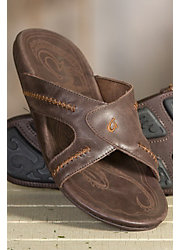 Men's OluKai Mea Ola Leather Slide Sandals