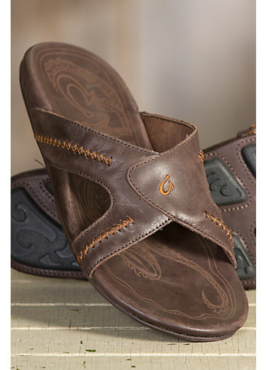 Men's OluKai Mea Ola Leather Slide Sandals