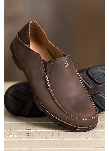 Men's Olukai Moloa Leather Moccasin Shoes