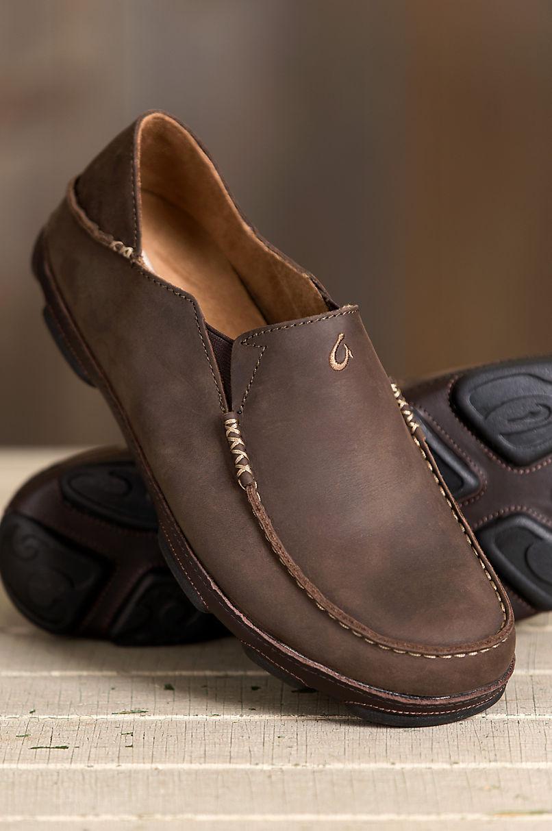 Men's Olukai Moloa Leather Moccasin Shoes