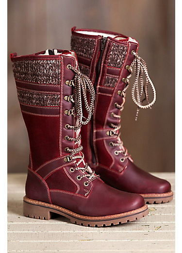 Women's Bos & Co Holding Wool-Lined Waterproof Leather Boots