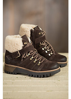 Women's Bos & Co Gail (Overland Edition) Wool-Lined Waterproof Leather Boots with Shearling Collar