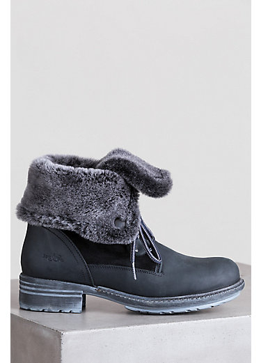 Women's Bos & Co Springfield (Overland Edition) Leather Boots with Shearling Trim