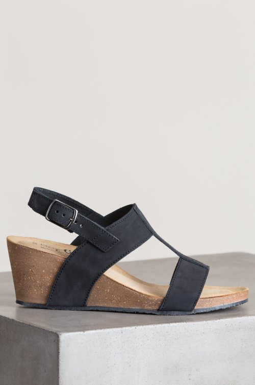 Women's Bos & Co Lust Italian Leather T-Strap Wedge Sandals