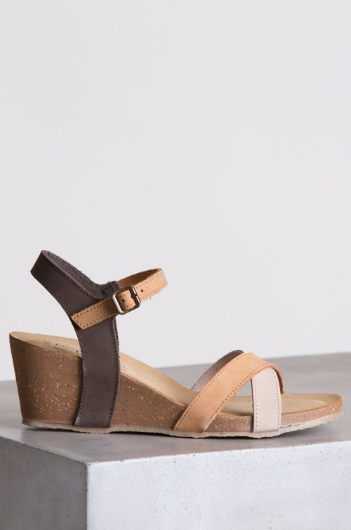 Women's Bos & Co Lucca Italian Leather Wedge Sandals
