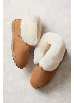 Children's Lamo Shearling-Lined Suede Slipper Booties