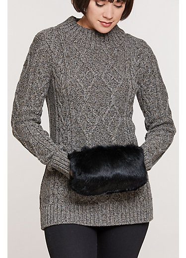 Rabbit Fur Muff Crossbody Clutch Handbag