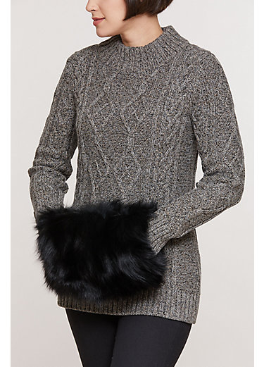 Fox Fur Muff Clutch Shoulder Bag