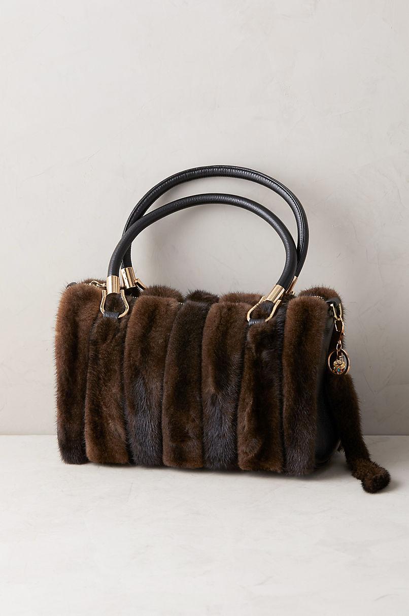 Hayden Danish Mink Fur and Leather Crossbody Top Handle Handbag