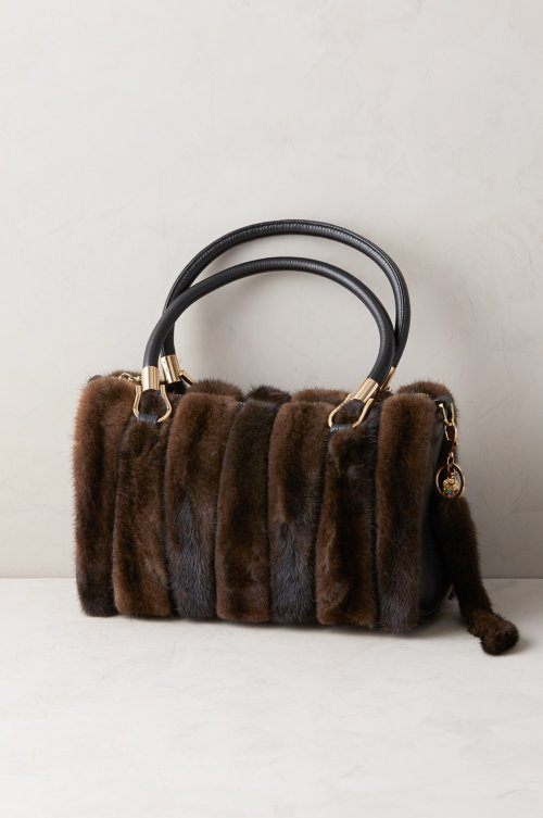 Hayden Danish Mink Fur and Leather Crossbody Top Handle Handbag