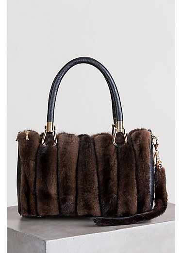 Danish Mink Fur and Leather Crossbody Handbag with Mink Fur Tail Key Fob