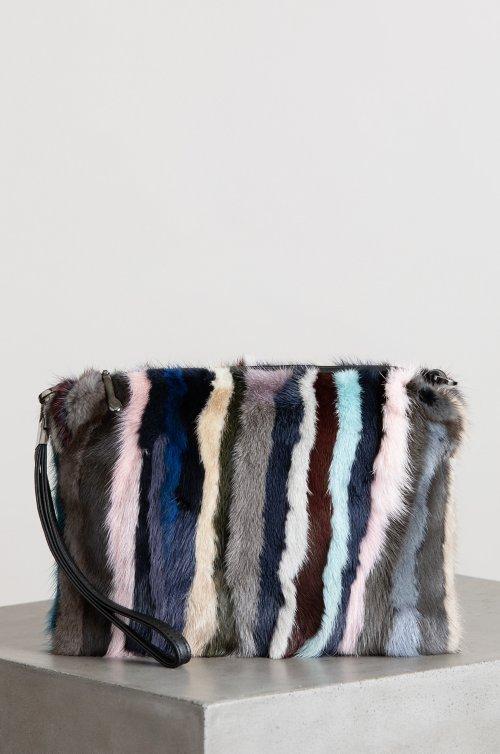 Hanley Danish Mink Fur Crossbody Wristlet Clutch