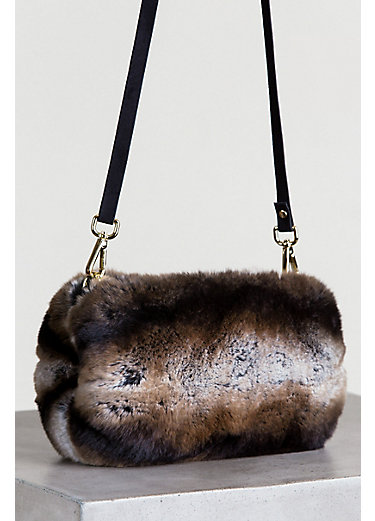 Two-Tone Rex Rabbit Fur Muff Crossbody Clutch Handbag