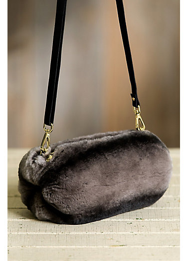 Rex Rabbit Fur Muff Crossbody Clutch Handbag