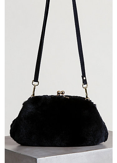 Rex Rabbit Fur Crossbody Clutch Handbag