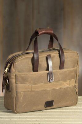 Coronado Waxed Canvas and Bison Leather Briefcase