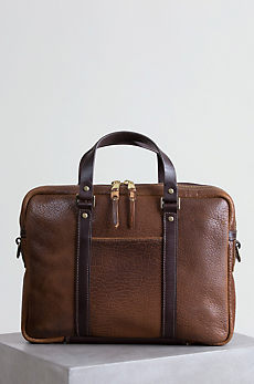 Coronado American Bison Leather Briefcase with Concealed Carry Pocket