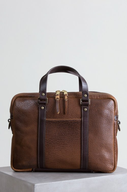 Legacy American Bison Leather Briefcase with Concealed Carry Pocket