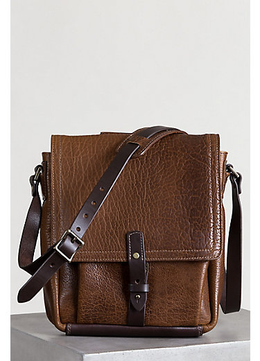 American Bison Leather Messenger Bag with Concealed Carry Pocket