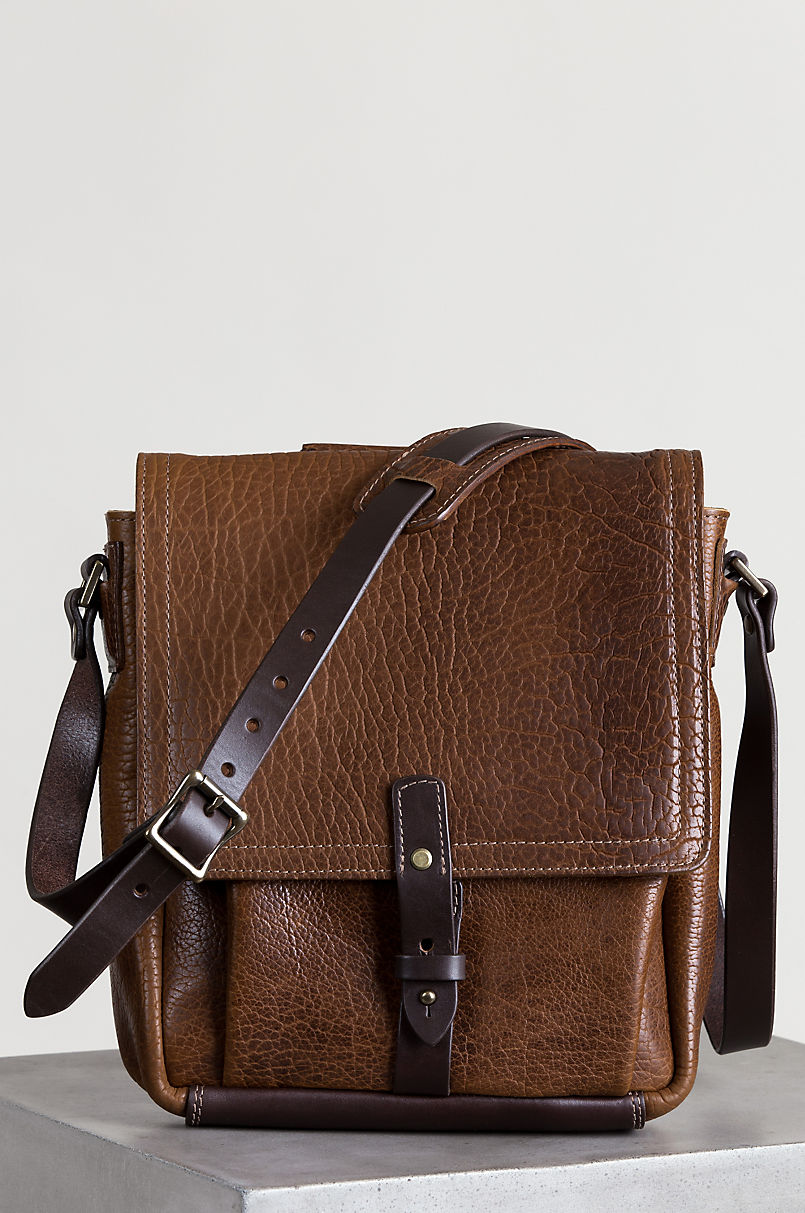 American Bison Leather Messenger Bag With Concealed Carry Pocket
