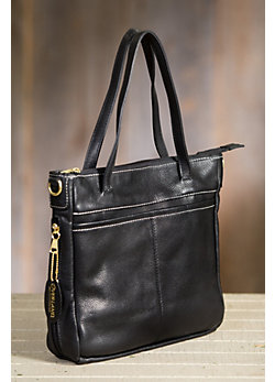Overland Taos Leather Tote Bag with Concealed Carry Pocket