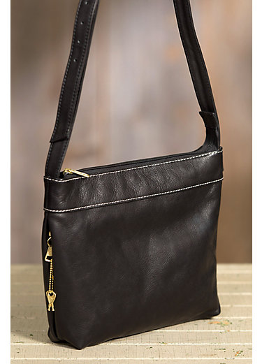 Taos Collection Leather Crossbody Handbag with Concealed Carry Pocket