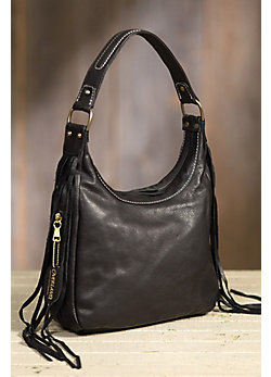 Overland Taos Collection Fringe Shoulder Handbag with Concealed Carry Pocket