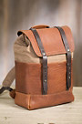 Coronado Redwood Canvas and Bison Leather Backpack with Concealed Carry Pocket