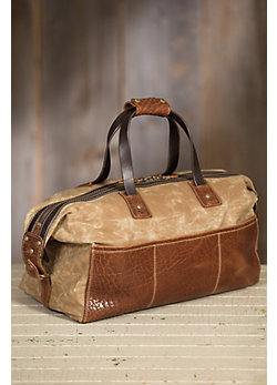 Coronado Redwood Canvas and Bison Leather Duffel Bag