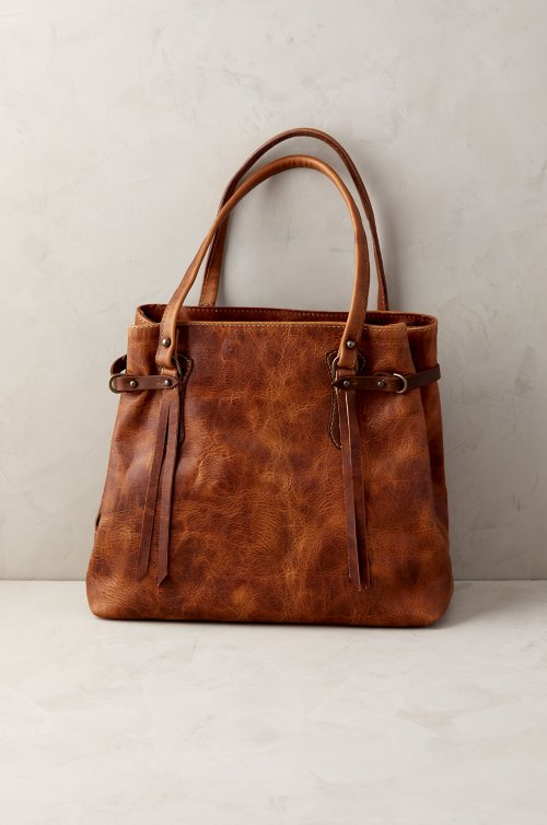 Santa Fe Bison Leather Tote Bag with Concealed Carry Pocket
