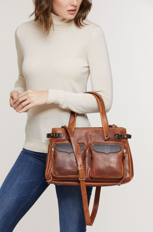 Santa Fe Bison Leather Crossbody Top Handle Handbag with Concealed Carry Pocket